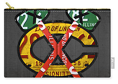 Chicago Blackhawks Hockey Team Retro Logo Vintage Recycled Illinois License Plate Art Carry-all Pouch by Design Turnpike