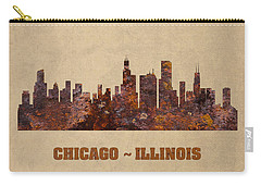 Chicago City Skyline Rusty Metal Shape On Canvas Carry-all Pouch by Design Turnpike