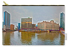 Carry-all Pouch featuring the photograph Chicago Skyline And Streets by Alex Grichenko