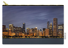 Chicago Skyline At Night Color Panoramic Carry-all Pouch by Adam Romanowicz