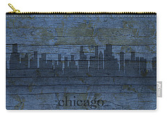 Chicago Skyline Silhouette Distressed On Worn Peeling Wood Carry-all Pouch by Design Turnpike