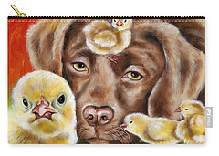 Carry-all Pouch featuring the painting Chick Sitting Afternoon by Hiroko Sakai