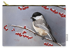Chickadee And Berries Carry-all Pouch by Lena Auxier