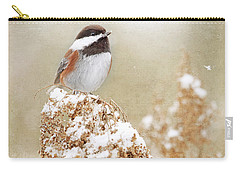 Carry-all Pouch featuring the photograph Chickadee And Falling Snow by Peggy Collins