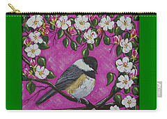 Chickadee In Apple Blossoms Carry-all Pouch