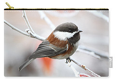 Carry-all Pouch featuring the photograph Chickadee In Winter by Peggy Collins