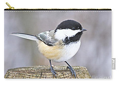 Chickadee On A Used To Be Tree Carry-all Pouch by Heather King