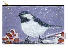 Carry-all Pouch featuring the painting Chickadee Winter by Fran Brooks
