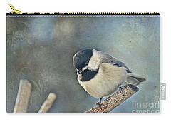 Chickadee With Texture Carry-all Pouch by Debbie Portwood