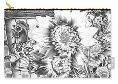 Carry-all Pouch featuring the photograph Rooster And Chicken House Chromed by Belinda Lee