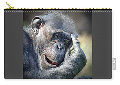 Carry-all Pouch featuring the photograph Chimpanzee Thinking by Savannah Gibbs