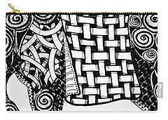 Carry-all Pouch featuring the drawing Chinese Horse - Zentangle by Jani Freimann