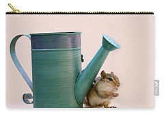 Carry-all Pouch featuring the photograph Chipmunk And Watering Can by Peggy Collins