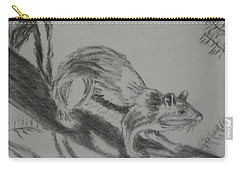 Carry-all Pouch featuring the drawing Chipmunk On The Prowl by Thomasina Durkay