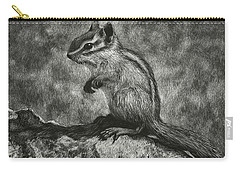 Chipmunk On The Rocks Carry-all Pouch by Sandra LaFaut