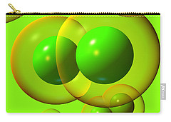 Carry-all Pouch featuring the digital art Chlorine Molecule 1 Green by Russell Kightley