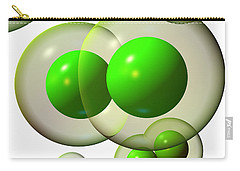 Carry-all Pouch featuring the digital art Chlorine Molecule 3 White by Russell Kightley
