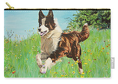 Chocolate Border Collie In Meadow Carry-all Pouch