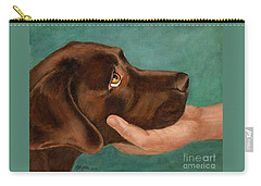 Chocolate Lab Head In Hand Carry-all Pouch