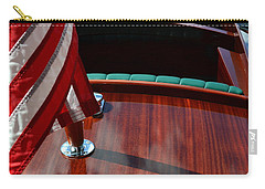 Chris Craft With Flag And Steering Wheel Carry-all Pouch by Michelle Calkins