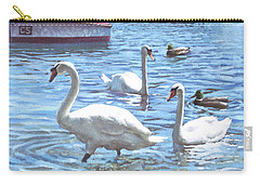 Carry-all Pouch featuring the painting Christchurch Harbour Swans And Boats by Martin Davey