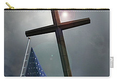 Christian Cross And Us Flag Carry-all Pouch
