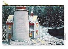 Carry-all Pouch featuring the painting Christmas At The Light by Fran Brooks