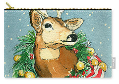 Christmas Buck Carry-all Pouch by Katherine Miller