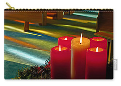 Carry-all Pouch featuring the photograph Christmas Candles At Church Art Prints by Valerie Garner