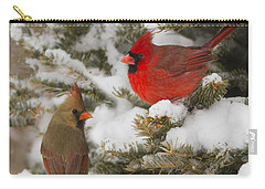 Christmas Card With Cardinals Carry-all Pouch by Mircea Costina Photography