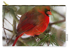 Carry-all Pouch featuring the photograph Christmas Cardinal by Kerri Farley
