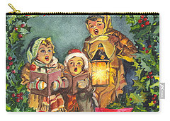 Christmas Carolers Merry Christmas And Happy New Years Carry-all Pouch by Carol Wisniewski