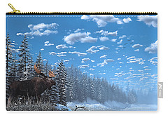 Christmas Day At Moose Lake Carry-all Pouch by Ken Morris