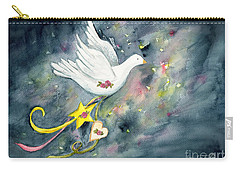 Christmas Dove In Flight Carry-all Pouch
