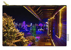 Christmas Fantasy Trees And Wooden House In Lights Carry-all Pouch