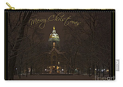 Christmas Greeting Card Notre Dame Golden Dome In Night Sky And Snow Carry-all Pouch