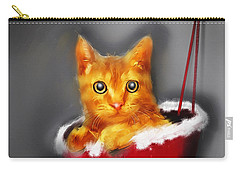 Christmas Kitten Carry-all Pouch by Ken Morris