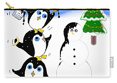 Carry-all Pouch featuring the digital art Christmas Penguins by Stephanie Grant