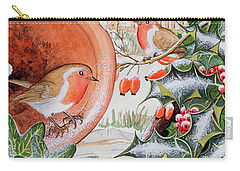 Christmas Robins Carry-all Pouch by Tony Todd