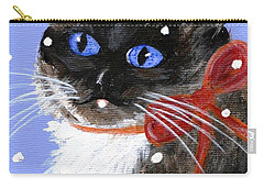 Carry-all Pouch featuring the painting Christmas Siamese by Jamie Frier