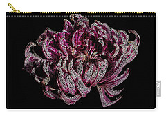 Carry-all Pouch featuring the digital art Chrysanthemum Scribble by Stephanie Grant