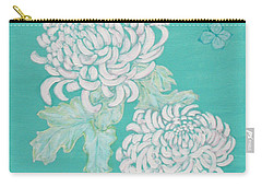 Carry-all Pouch featuring the painting Chrysanthemums And Butterflies by Stephanie Grant