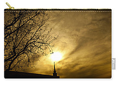 Carry-all Pouch featuring the photograph Church Steeple Clouds Parting by Jerry Cowart