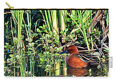 Cinnamon Teal And Dragonfly Carry-all Pouch