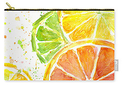 Citrus Fruit Watercolor Carry-all Pouch by Olga Shvartsur