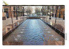 Carry-all Pouch featuring the photograph City Creek Fountain - 1 by Ely Arsha