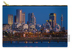 Carry-all Pouch featuring the photograph city lights and blue hour at Tel Aviv by Ron Shoshani