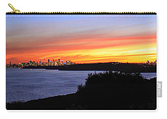 Carry-all Pouch featuring the photograph City Lights In The Sunset by Miroslava Jurcik
