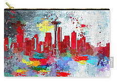 City Of Seattle Grunge Carry-all Pouch by Daniel Janda