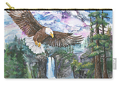 Carry-all Pouch featuring the painting Cleared For Landing Mount Baker by Sherry Shipley
